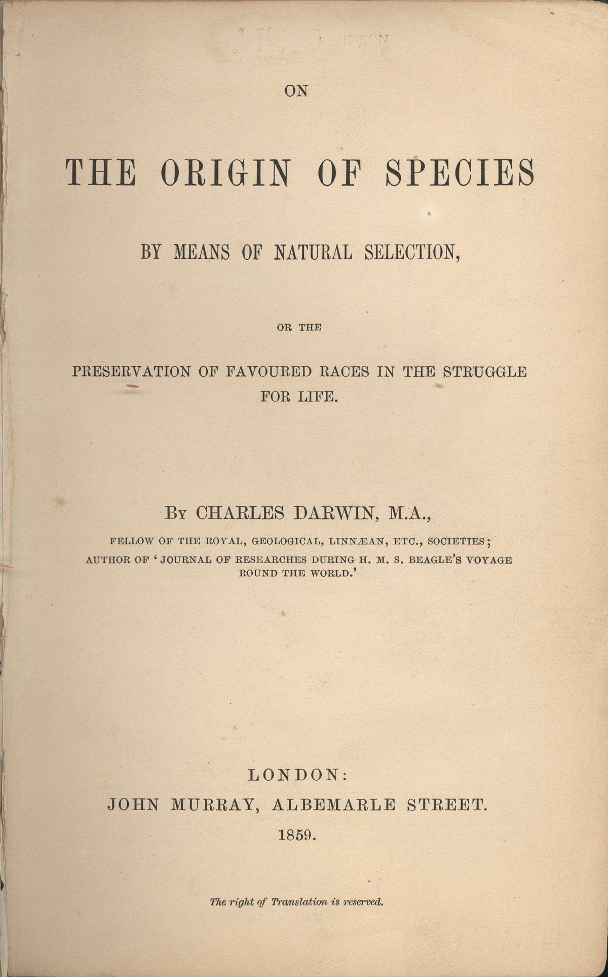 Charles Darwin – On the Origin of Species by Means of Natural Selection
